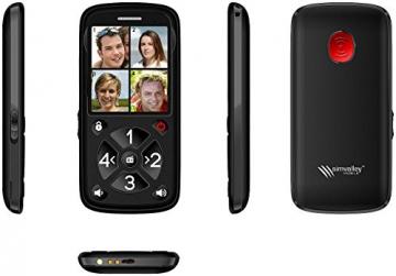 simvalley communications Seniorenhandy: 5-Tasten-Senioren- & Kinder-Handy mit Garantruf Premium, LED und Radio (Kinderhandy) - 5