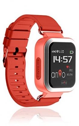 Anio3 touch ROT - Kinder GPS Smartwatch / Schutz für Ihr Kind / SOS Notruf + Telefonfunktion / KEINE MONITORFUNKTION / GPS Uhr / WIFI + LBS, CE & RoHS & EN71 DEUTSCHER SERVER - DEUTSCHE APP (Rot) - 1