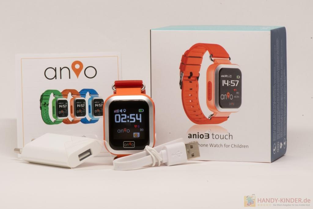 Anio 3 Touch Kindersmartwatch Bedienungsanleitung und Lieferumfang