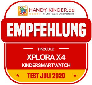 Xplora X4 Kindersmartwatch Testsiegel