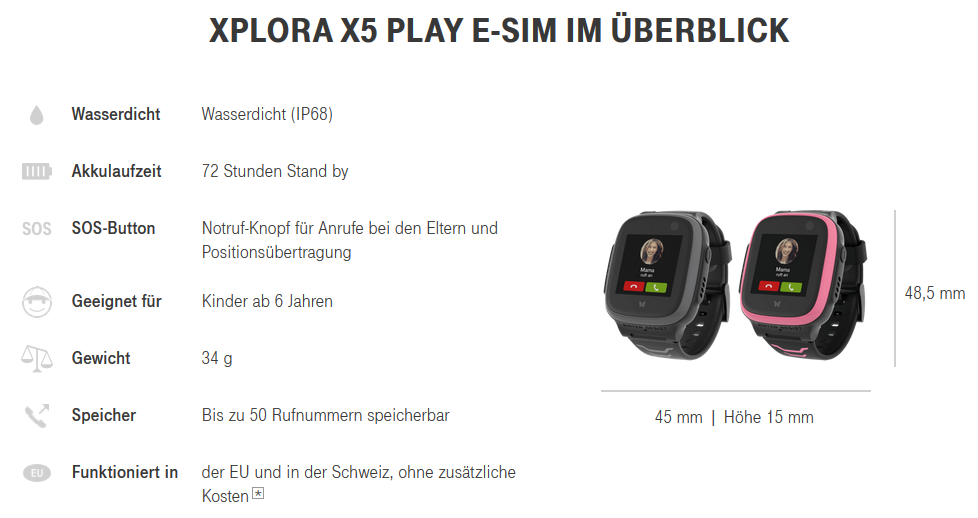 Xplora X5 Kindersmartwatch Details