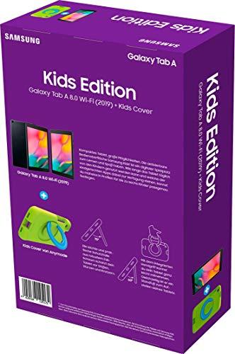 Samsung Galaxy Tab A 8.0 Wi-Fi (2019) + Kids Cover Grün (20,31 cm (8 Zoll), 32 GB interner Speicher, 2 GB RAM, Android 9 mit Kids Home-Bereich) Schwarz - 8