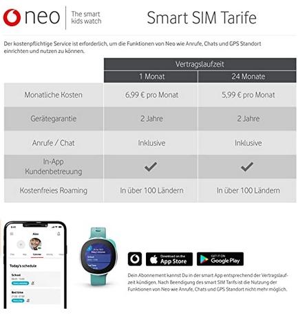 Vodafone Neo - Preise und Servicegebühr