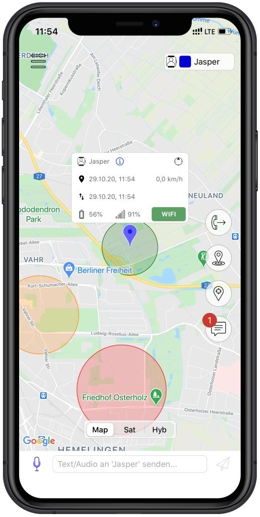 Anio 5 App: Standortermittlung mit GPS und WLAN