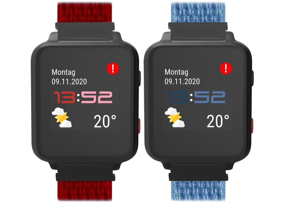 Anio 5 in rot und blau mit Uhrzeitanzeige, Wetteranzeige, Datum