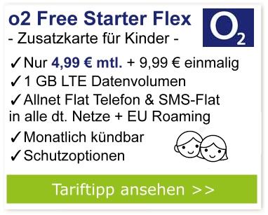 o2 Starter Flex - Zusatzkarte für Kinder