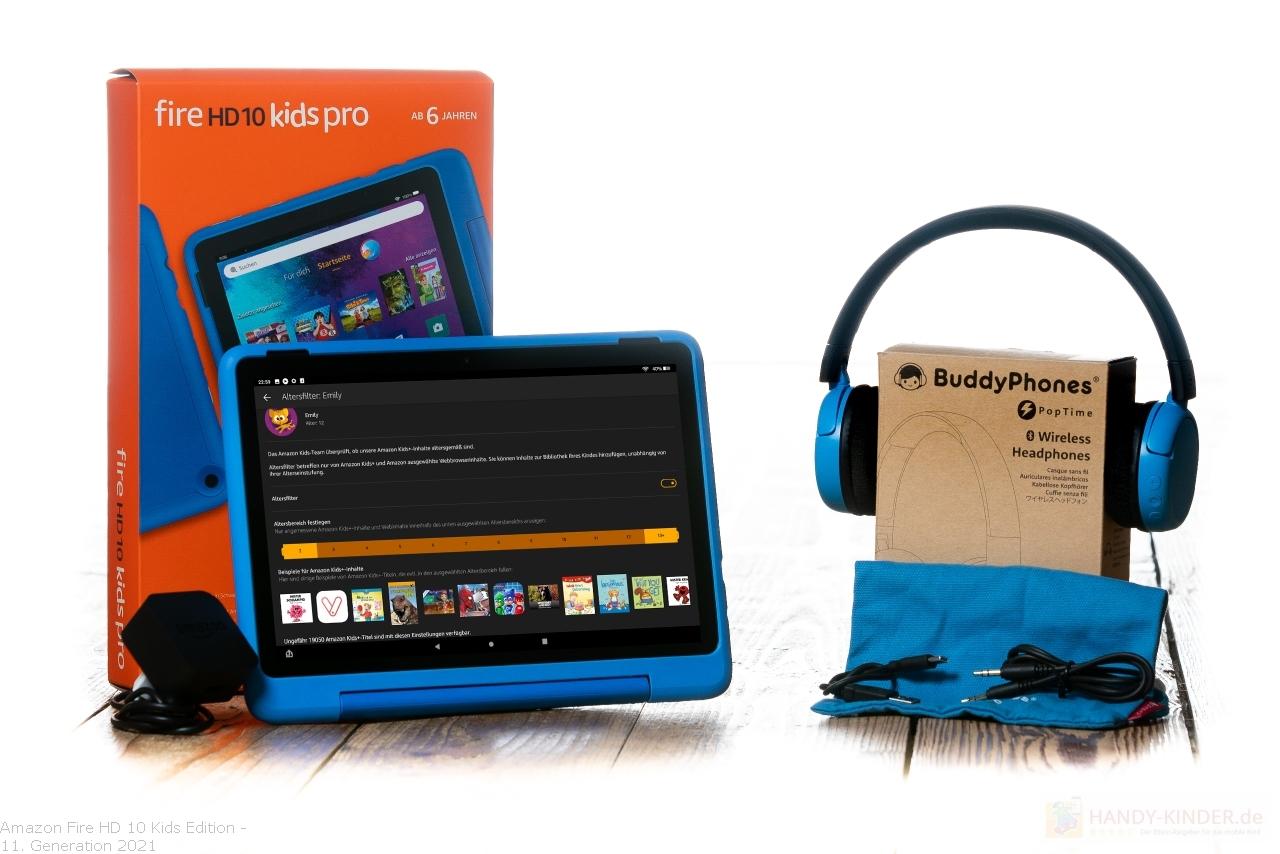 Amazon Fire HD Kids 10 Pro 2021 für Grundschulkinder mit Kopfhörer